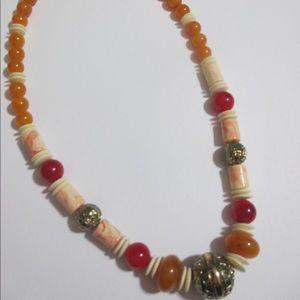 Boho Necklace Exotic Bali Faux Honey Amber Bone